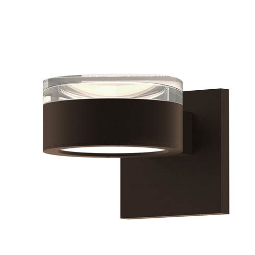 Inside-Out REALS Textured Bronze Up Down LED Wall Sconce with Cylinder Cap and Plate Lens - Clear Cap with Frosted White Lens