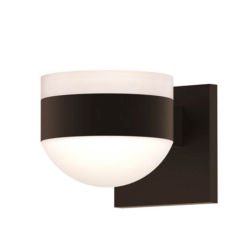 Inside-Out REALS Textured Bronze Up Down LED Wall Sconce with Dome Lens and Cylinder Cap - White Cap with Frosted White Lens