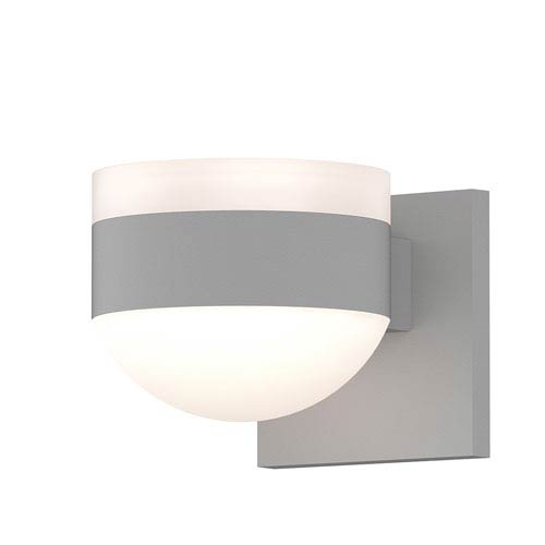 Inside-Out REALS Textured White Up Down LED Wall Sconce with Dome Lens and Cylinder Cap - White Cap with Frosted White Lens