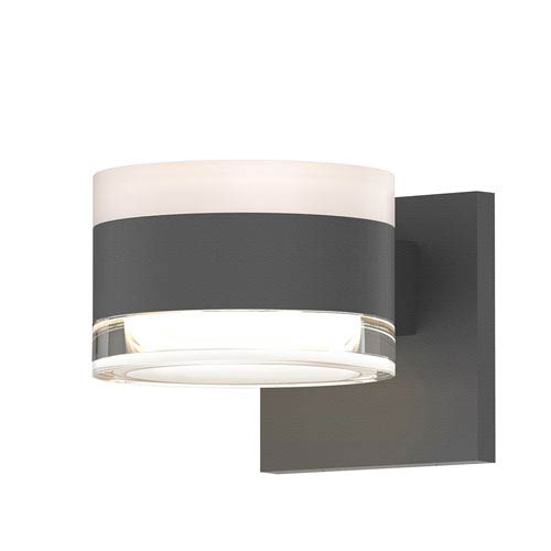 SONNEMAN Inside-Out REALS Textured Gray Up Down LED Sconce with Cylinder Lens and Cylinder Cap - White Cap with Clear Lens