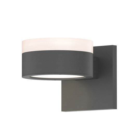 SONNEMAN Inside-Out REALS Textured Gray Up Down LED Sconce with Plate Lens and Cylinder Cap - White Cap with Frosted White