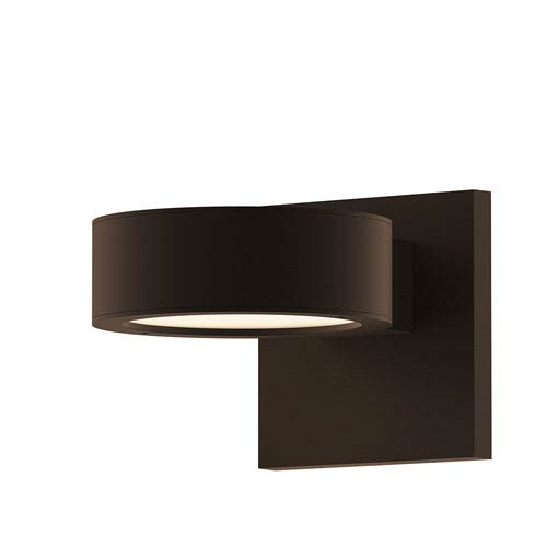 Inside-Out REALS Textured Bronze Up Down LED Wall Sconce with Plate Lens and Plate Cap with Frosted White Lens