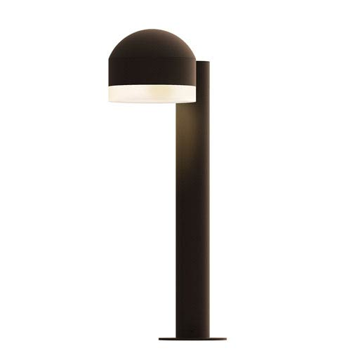 Inside-Out REALS Textured Bronze 16-Inch LED Bollard with Cylinder Lens and Dome Cap with Frosted White Lens