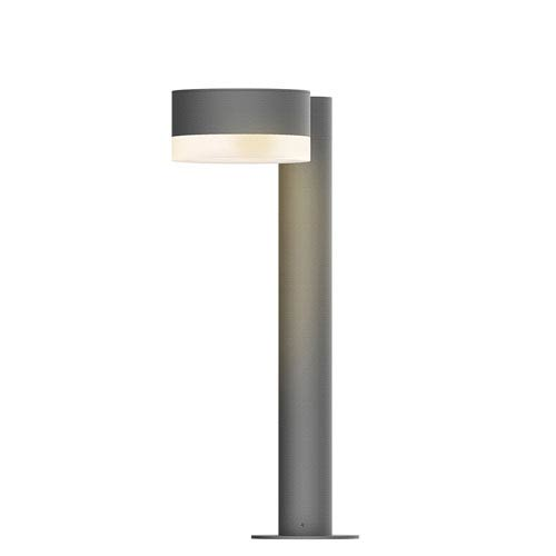 SONNEMAN Inside-Out REALS Textured Gray 16-Inch LED Bollard with Cylinder Lens and Plate Cap with Frosted White Lens