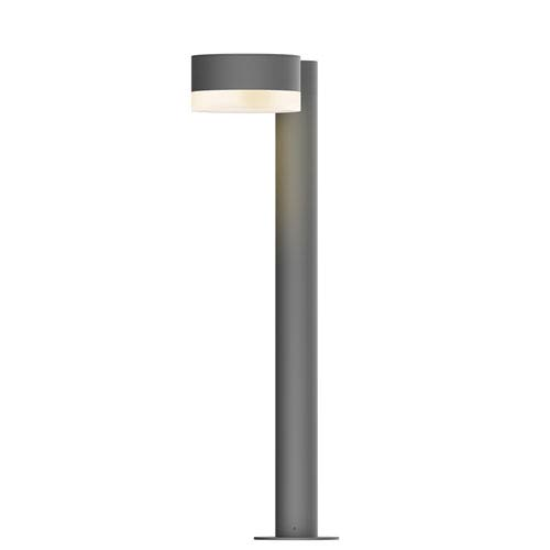 Inside-Out REALS Textured Gray 22-Inch LED Bollard with Frosted White Lens