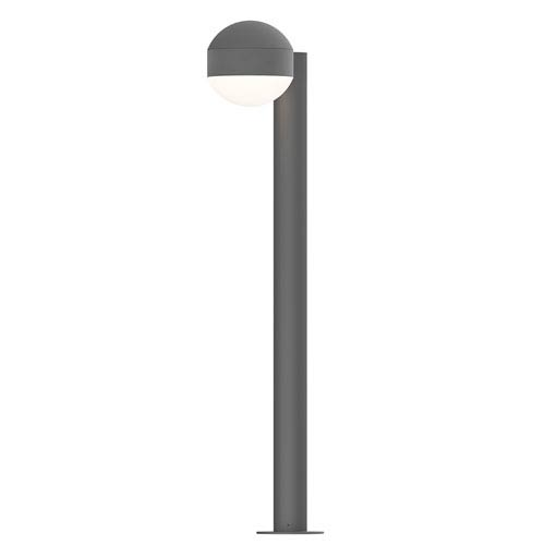 SONNEMAN Inside-Out REALS Textured Gray 28-Inch LED Bollard with Dome Lens and Dome Cap with Frosted White Lens