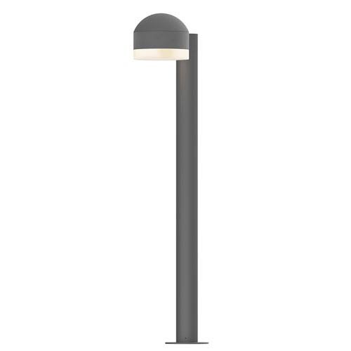 Inside-Out REALS Textured Gray 28-Inch LED Bollard with Cylinder Lens and Dome Cap with Frosted White Lens