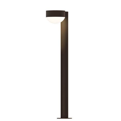 SONNEMAN Inside-Out REALS Textured Bronze 28-Inch LED Bollard with Dome Lens and Plate Cap with Frosted White Lens