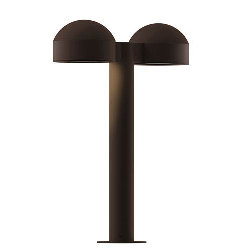 SONNEMAN Inside-Out REALS Textured Bronze 16-Inch LED Double Bollard with Plate Lens and Dome Cap with Frosted White Lens