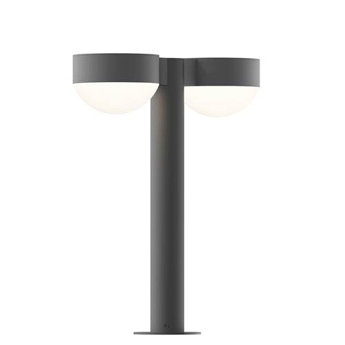 Inside-Out REALS Textured Gray 16-Inch LED Double Bollard with Dome Lens and Plate Cap with Frosted White Lens