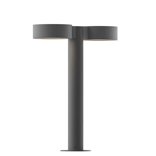 SONNEMAN Inside-Out REALS Textured Gray 16-Inch LED Double Bollard with Frosted White Lens