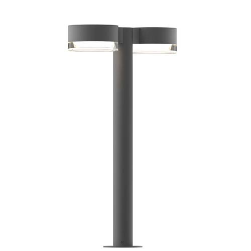 Inside-Out REALS Textured Gray 22-Inch LED Double Bollard with Clear Lens