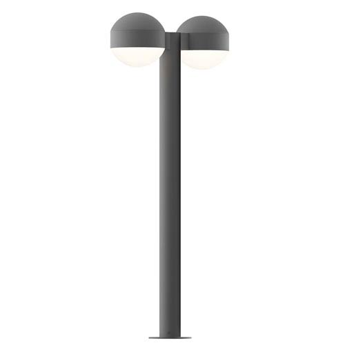 Inside-Out REALS Textured Gray 28-Inch LED Double Bollard with Dome Lens and Dome Cap with Frosted White Lens