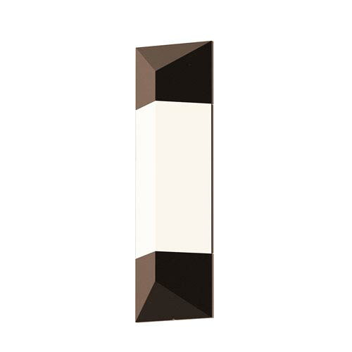 Inside-Out Triform Textured Bronze 18-Inch LED Wall Sconce with White Optical Acrylic Shade