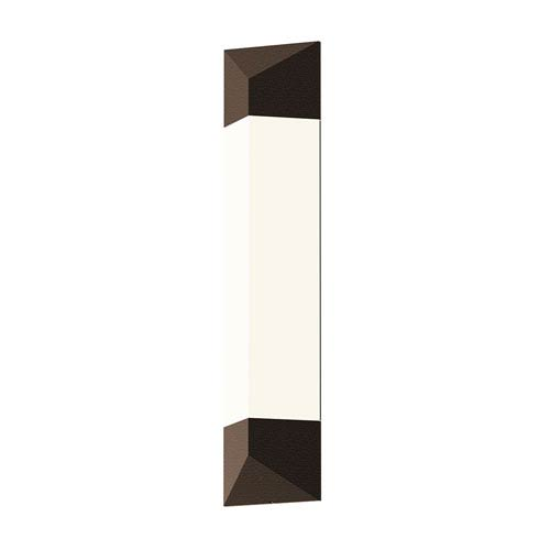 Inside-Out Triform Textured Bronze 24-Inch LED Wall Sconce with White Optical Acrylic Shade
