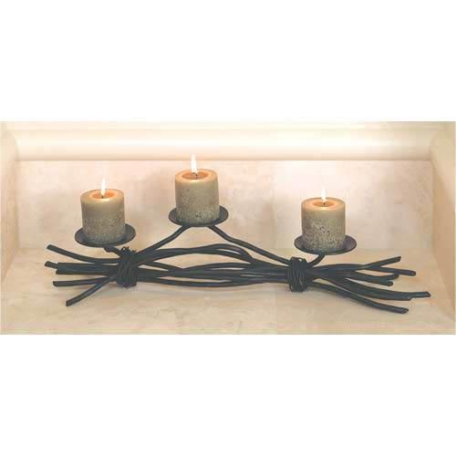 Rush Natural Black Triple Candleholder