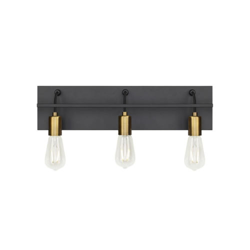Black and Aged Brass 24-Inch Three-Light Bath Vanity