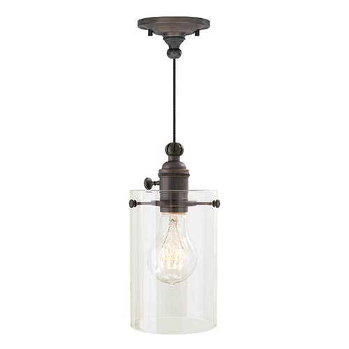 Clark Antique Bronze One-Light Mini Pendant with Clear Glass