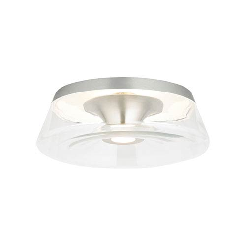 Ambist Satin Nickel One-Light 3000K LED Flushmount with Clear Shade and Satin Nickel Stem