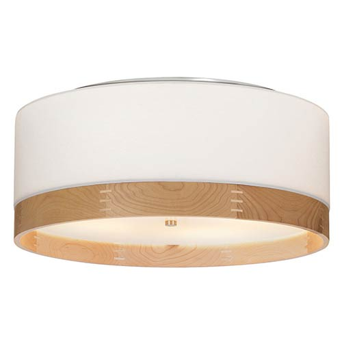 Topo Satin Nickel Four-Light Flush Mount with White Shade and Maple Wood Trim