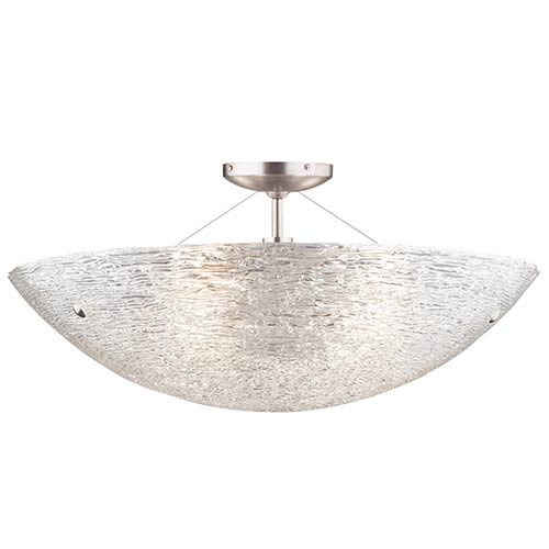 Trace Satin Nickel Four-Light Semi-Flush with Crystal Glass