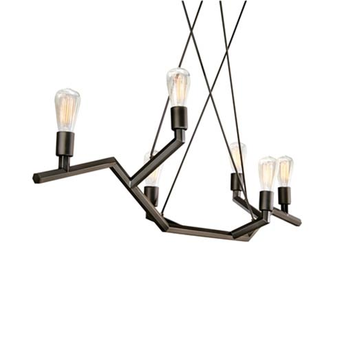 Tech Lighting Akimbo Antique Bronze 48-Inch High Six-Light Linear Suspension Pendant