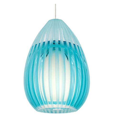 Tech Lighting Ava Chrome One-Light Halogen Mini Pendant with Aqua Glass