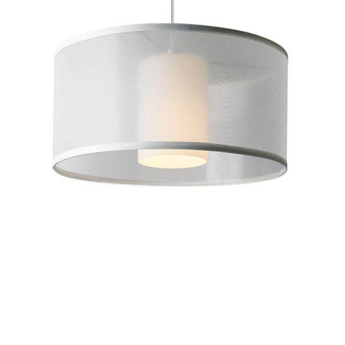 Tech Lighting Dillon Satin Nickel One-Light LED Pendant with White Shade and Satin Nickel Stem