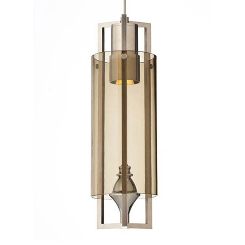 Projekt Satin Nickel One-Light LED Mini Pendant with Smoke Shade and Satin Nickel Stem