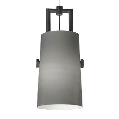 Tech Lighting Revere Black One-Light LED Mini Pendant with Smoke Shade and Black/Satin Nickel Stem