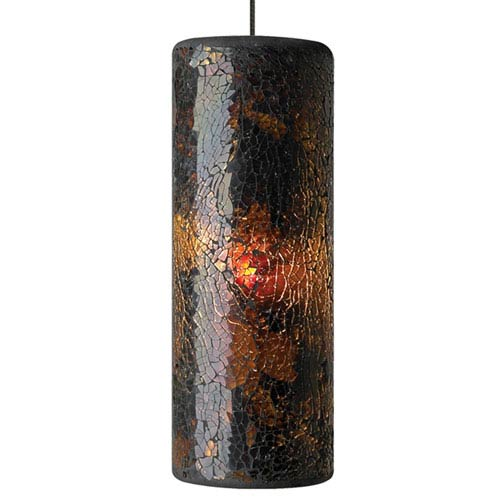 Veil Gold One-Light LED Mini Pendant with Brown Shade and Antique Bronze Stem
