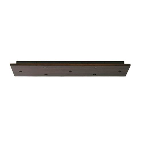 Tech Lighting Antique Bronze 7-Port Rectangle Canopy Accessory in Walnut Wood