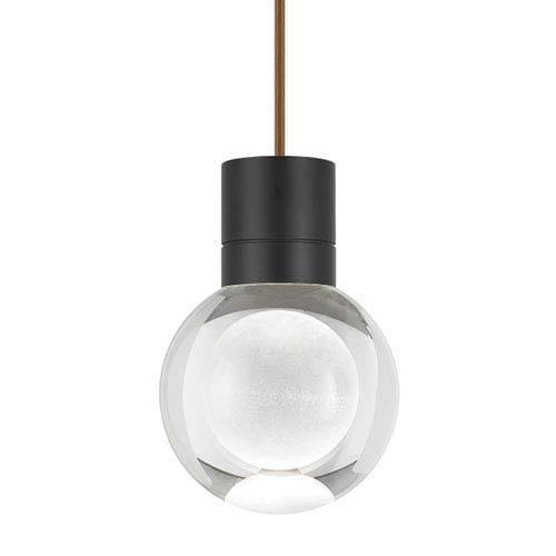 Mina Black LED Line-Voltage Mini-Pendant with Brown Cord