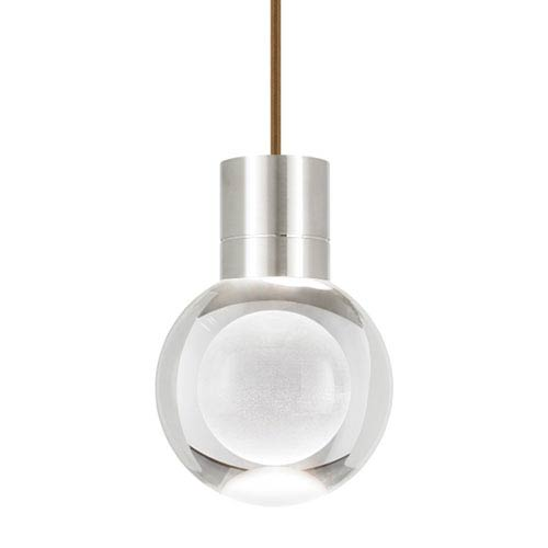 Mina Satin Nickel LED Line-Voltage Mini-Pendant with Brown Cord