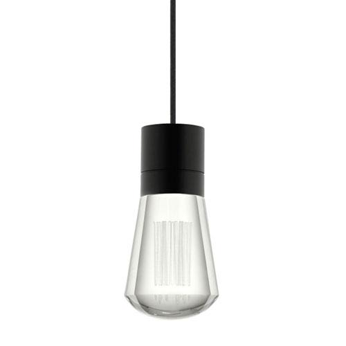 Alva Black 3000K LED Mini Pendant with Clear Shade and Black Stem