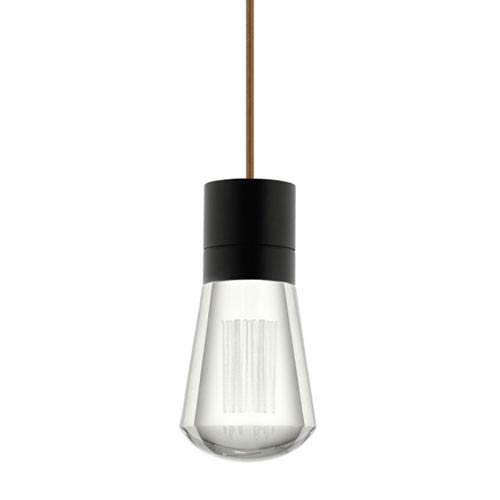 Alva Black  LED Mini Pendant with Clear Shade and Brown Stem