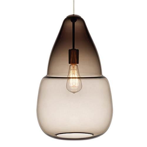 Tech Lighting Capsian Satin Nickel One-Light Grande Mini Pendant with Smoke Glass