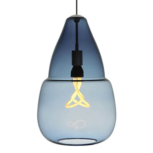 Tech Lighting Capsian Satin Nickel One-Light Grande Mini Pendant with Steel Blue Glass
