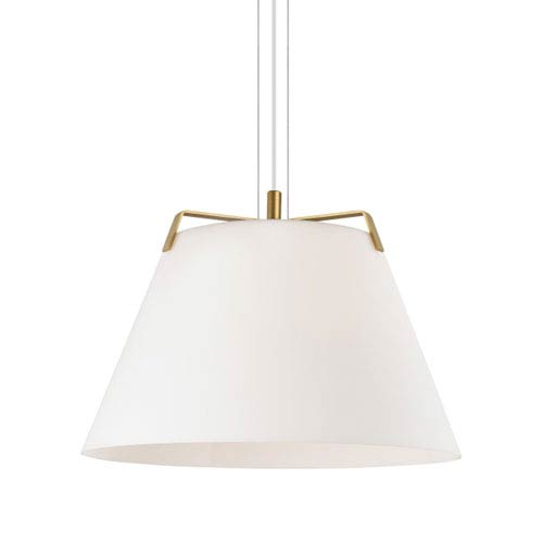 Devin Satin Gold and White One-Light Line-Voltage Pendant