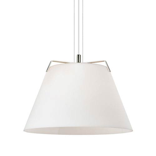 Devin Polished Nickel and White One-Light Line-Voltage Pendant