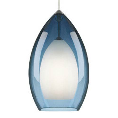 Fire Grande Steel Blue One-Light Fluorescent Mini Pendant with White Canopy