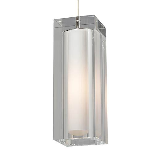 Tech Lighting Jayden Satin Nickel One-Light Grande Mini Pendant with Clear Glass