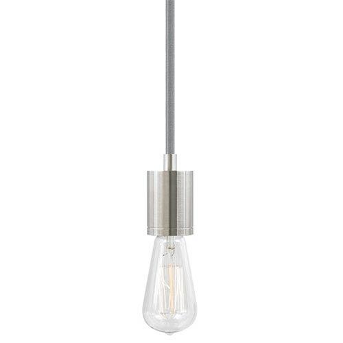 Soco Satin Nickel One-Light 8-Feet Modern Socket Mini Pendant with Gray Cord