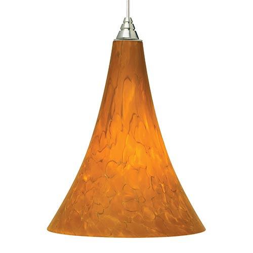 Tech Lighting Melrose 2KD Satin Nickel One-Light Pendant with Tahoe Pine Amber Glass