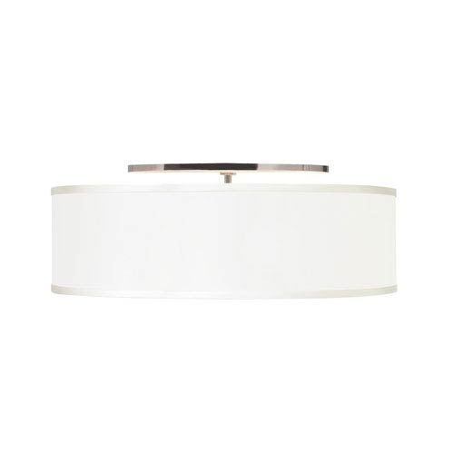 Mulberry White Two-Light Semi Flush Mount with Satin Nickel Canopy