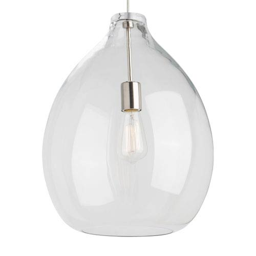 Quinton Satin Nickel One-Light Pendant with Clear Shade and Satin Nickel Stem