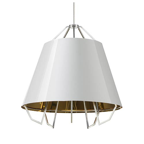 Tech Lighting Artic White One-Light Pendant with Gloss White-Gold Shade and Gray Cord