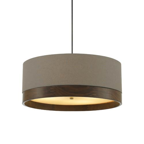 Tech Lighting Topo Antique Bronze 36-Inch Four-Light Pendant with Heather Gray Shade and Walnut Wood Trim