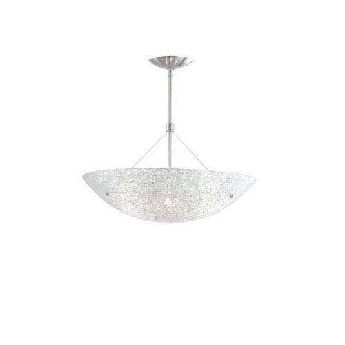 Trace Satin Nickel Four-Light Fluorescent 36-Inch Pendant with Crystal Glass Bowl