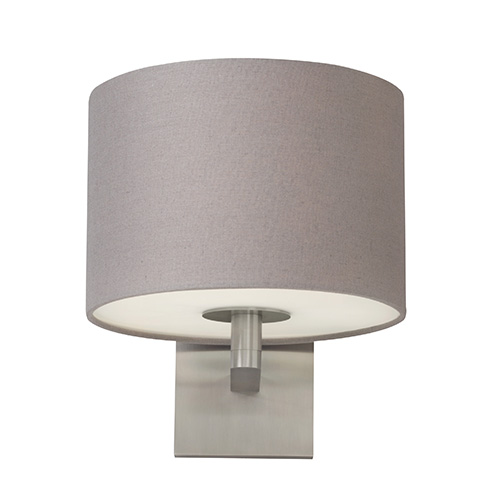 Chelsea Satin Nickel One-Light Wall Sconce with Heather Gray Fabric Shade
